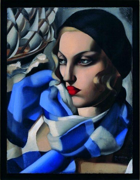 Tamara de Lempicka, La sciarpa blu, 1930. Olio su tavola, 56,50 x 48 cm. Collezione privata © Tamara Art Heritage. Licensed by MMI NYC/ ADAGP Paris/ SIAE Roma 2015