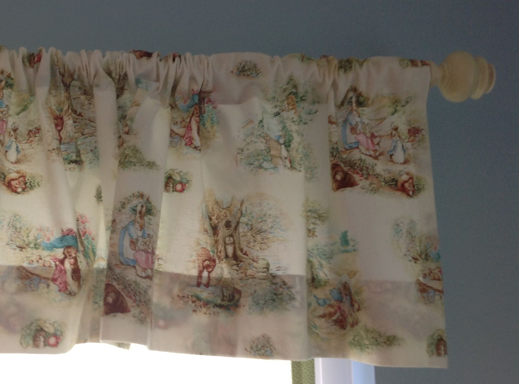 Finn 39 s peter rabbit curtains are made by my mom we found cute shabby chic curtain rods at home - Shabby chic curtain poles ...