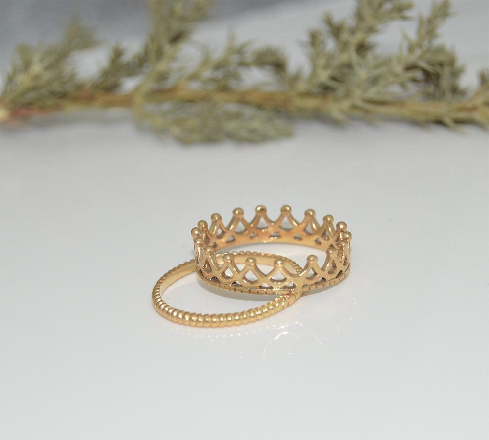 Crown Ring 10kt Tiara Ring Princess Crown Ring Queen Crown Ring Crown Jewelry Whit White Gold Diamond Wedding Rings Heart Shaped Diamond Ring Dainty Gold Band