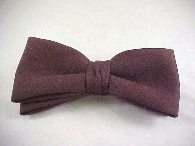 Vtg 1960s Mens Fat Bow Tie by Royal Rust Resistant Clip On Chocolate Brown