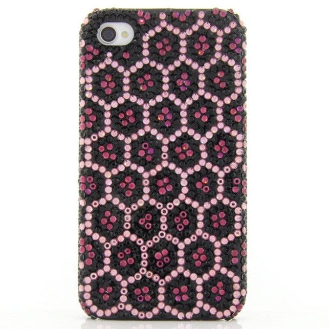 Purple and Black Leopard Crystal iPhone 4 Case