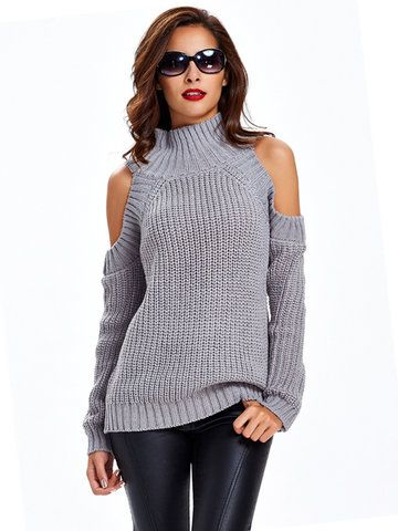 Trendy Women Casual Off-shoulder Stand Collar Long Sleeve Sweater - NewChic Mobile.