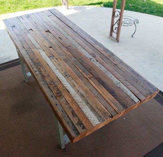 Items Similar To Custom Outdoor/ Indoor Exposed Edge Rustic Industrial Reclaimed  Wood Dining Table / CoffeeTable(Made To Order) On Etsy