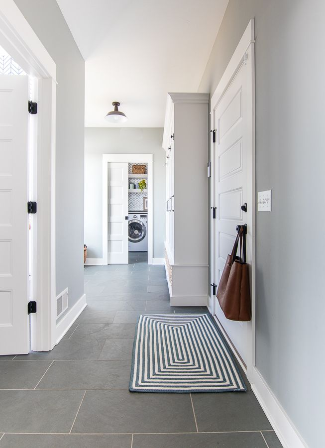 Grey And Blue Mudroom Home Renovation Gray Painted Walls