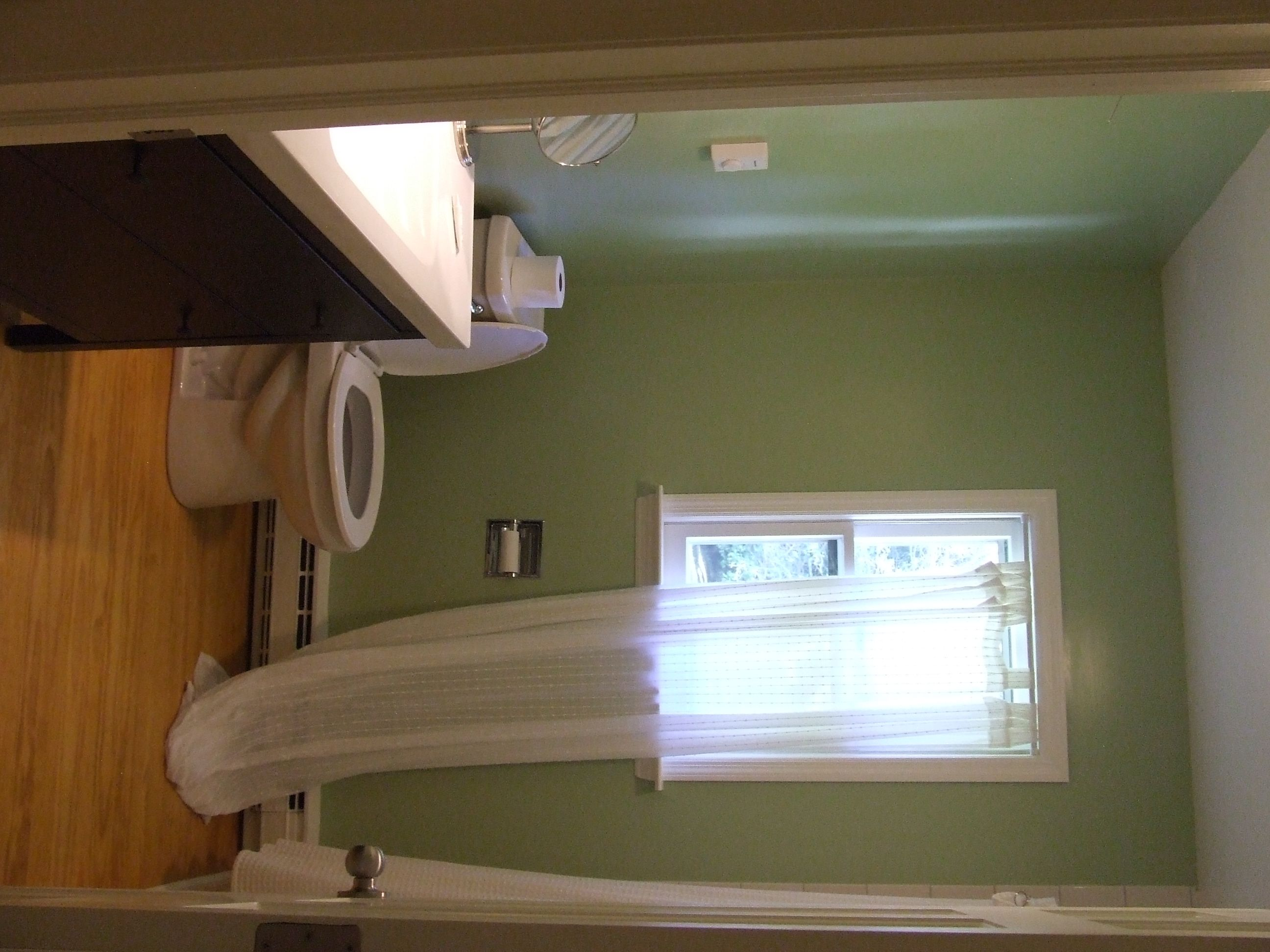 Kate's bathroom, kittery point green from Ben Moore. Ikea curtains and vanity/sink.