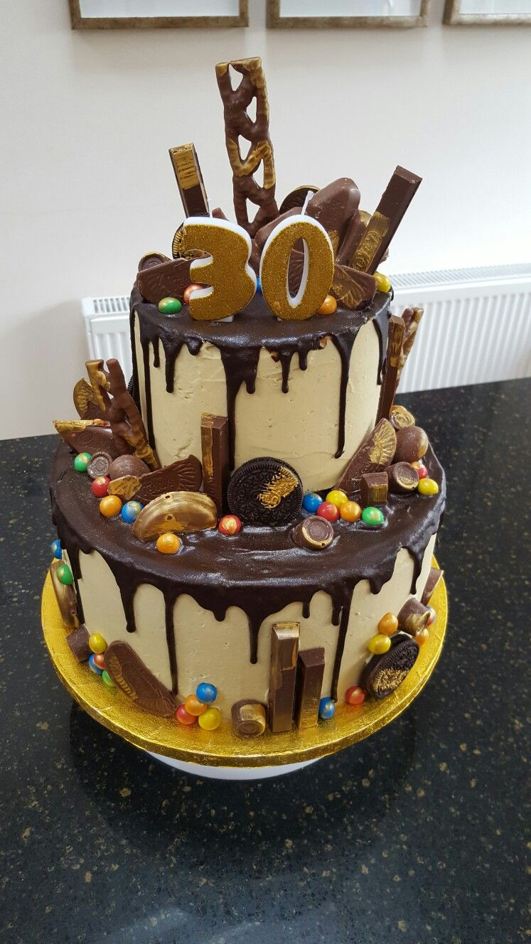 Two Tier Chocolate Drip 30th Birthday Cake