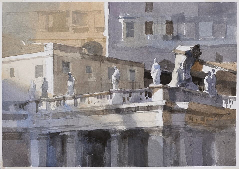 簡忠威 【梵諦岡迴廊上的陽光】Sunshine on the Vatican corridors,watercolor.