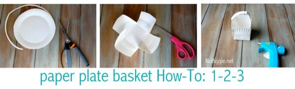 paper plate basket How To - going to use this in my positive solutions family training & Washi Tape Easter Crafts (free printable) | Paper plate basket ...