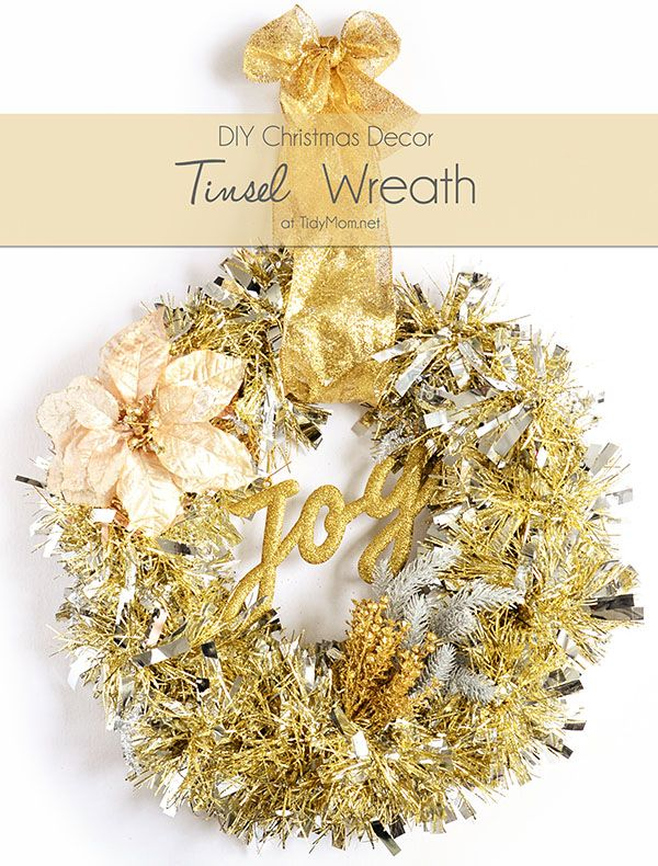 6e37c4c4e6 DIY Christmas Decor - Make this easy Tinsel Wreath in under 15 minutes and  no glue required! Tutorial at TidyMom.net