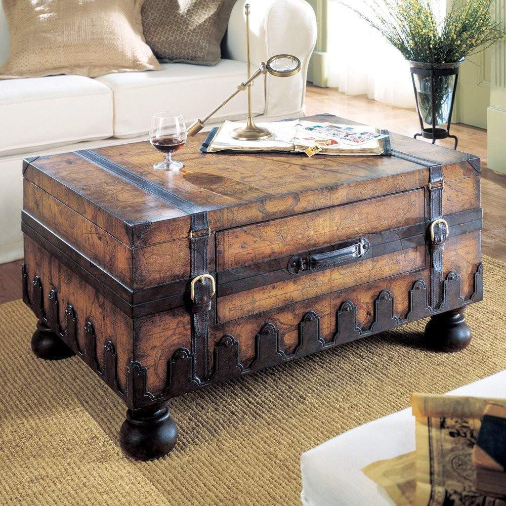 Heritage Trunk Coffee Table With Laminated Old World Map Surface Coffee Table Trunk Chest Coffee Table Steamer Trunk Coffee Table
