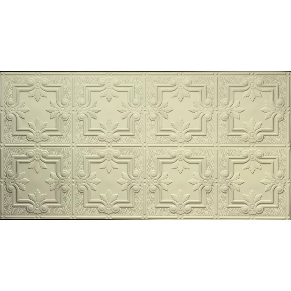 Dimensions Faux 2 Ft X 4 Ft Glue Up Tin Style Creme Ceiling Tile