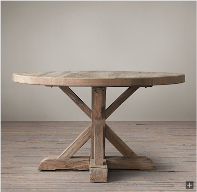Restoration Hardware Distressed Elm Belgian Trestle Round Dining