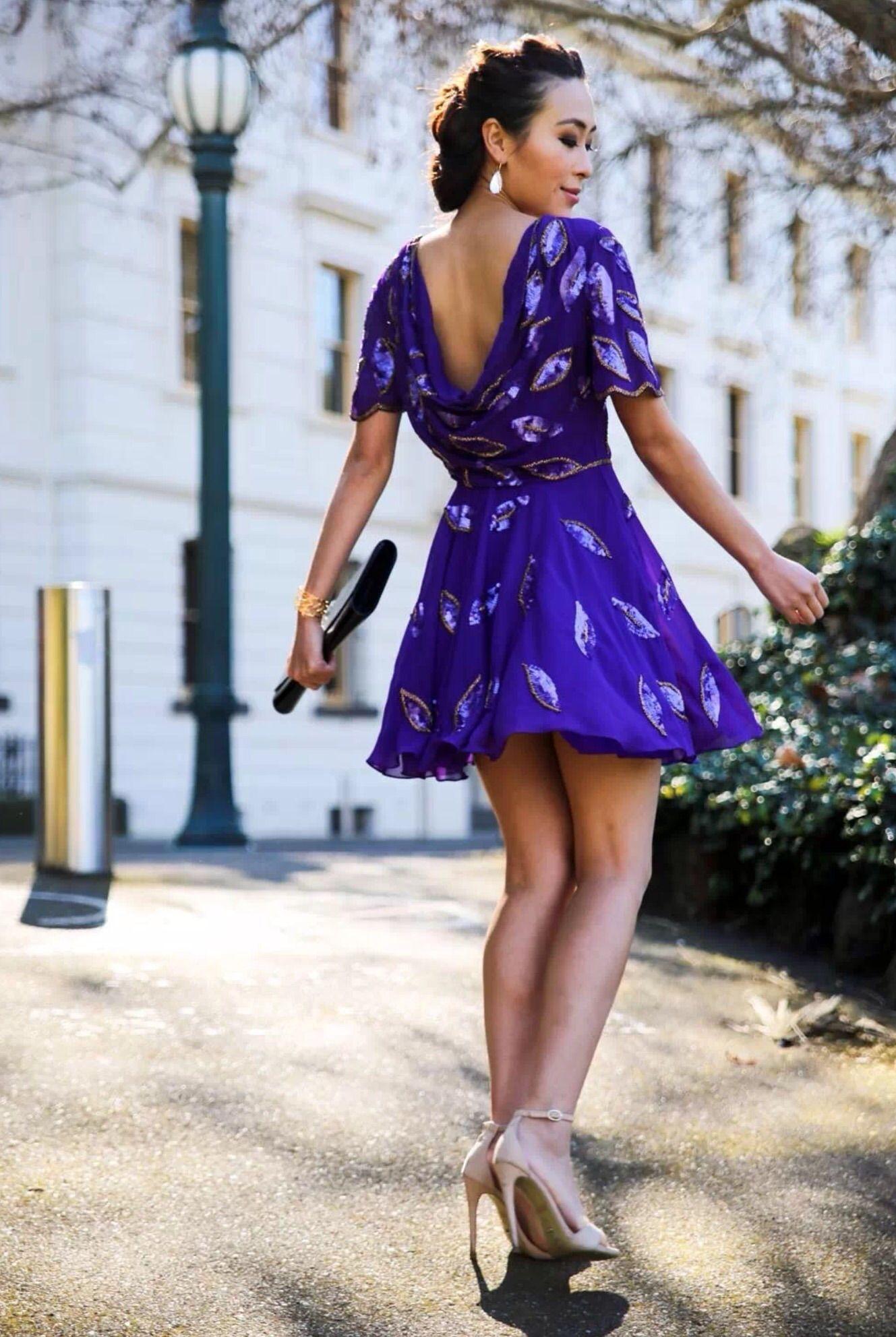 Virgos Lounge Loose Back Purple Skater Dress.
