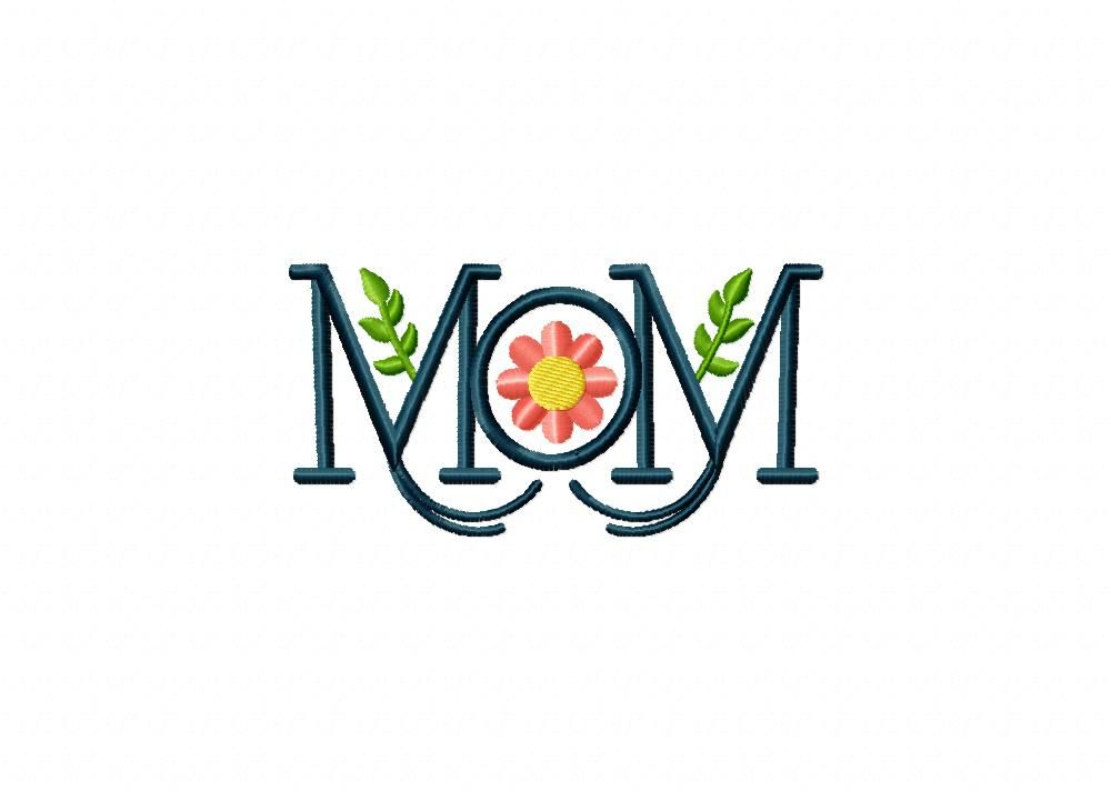 Mom Monogram Flowers Machine Embroidery Design