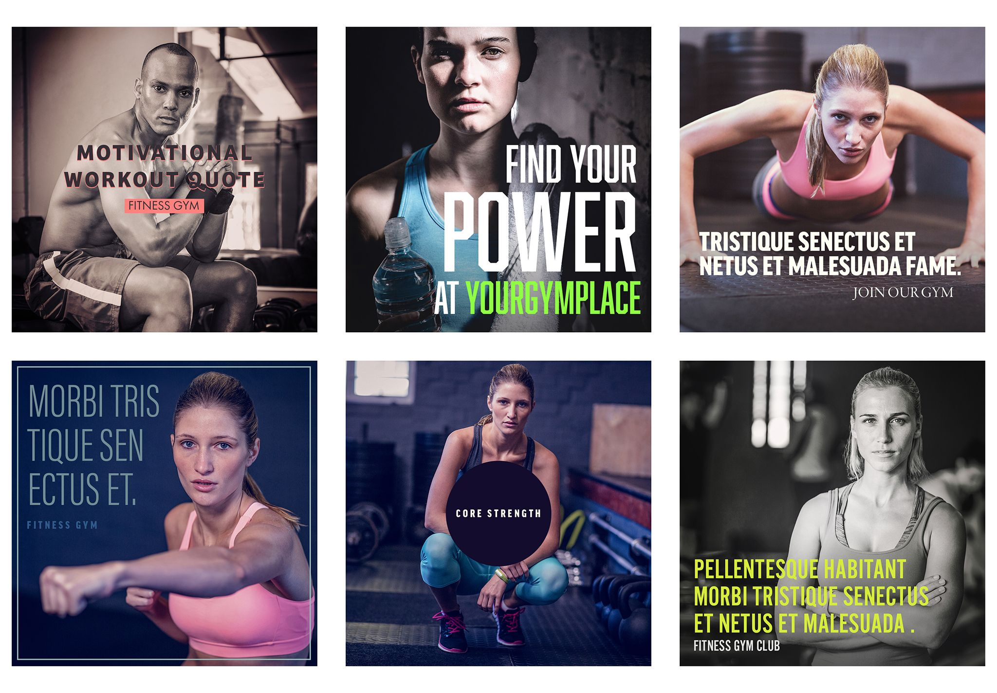 Social Media Instagram Gym Fitness Post Templates Habita