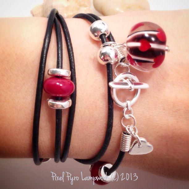 Be mine Valentine Lampwork and Leather Wrist Wrap Bracelet Necklace £24.00