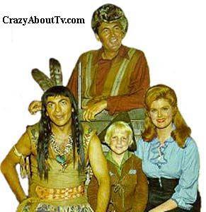 """Daniel Boone"" (1964-1970) Fess Parker as Daniel, Patricia Blair as Rebecca, Darby Hinton as Isreal, and Ed Ames as Mingo"