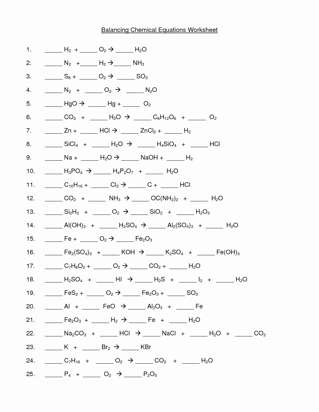 50 Balancing Equations Worksheet Answers Chemistry Chessmuseum Template Library Chemical Equation Equations Balancing Equations