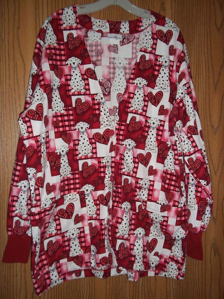 Hearts Dalmatians Scrub Top Long Sleeve Jacket Large