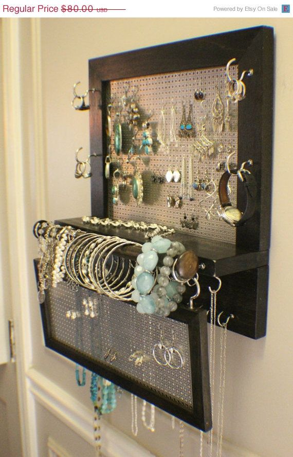 You Pick the Stain Wall Mounted Jewelry Organizer with a Bracelet