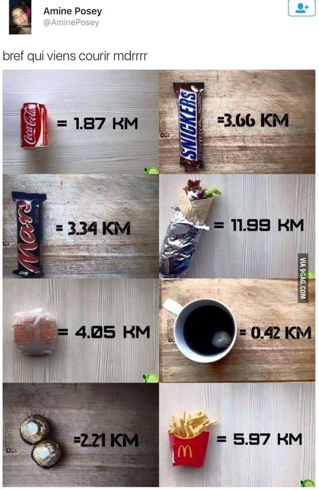 voici combien de KM vous devrez courir après avoir manger l'un de ces aliments , bon courage  (y) <3