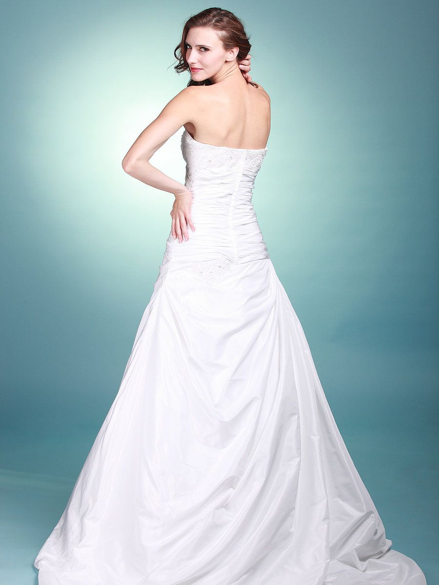 Wedding dress without train  Strapless Sweetheart Wedding Gown with Shrug and Court Train Style