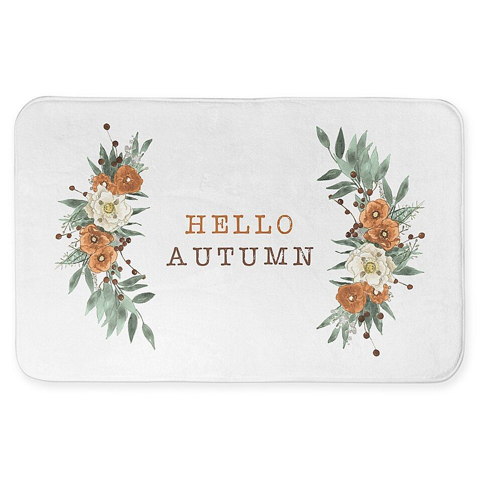 Hello Autumn Fall Floral 34X21 Bath Mat White #helloautumn