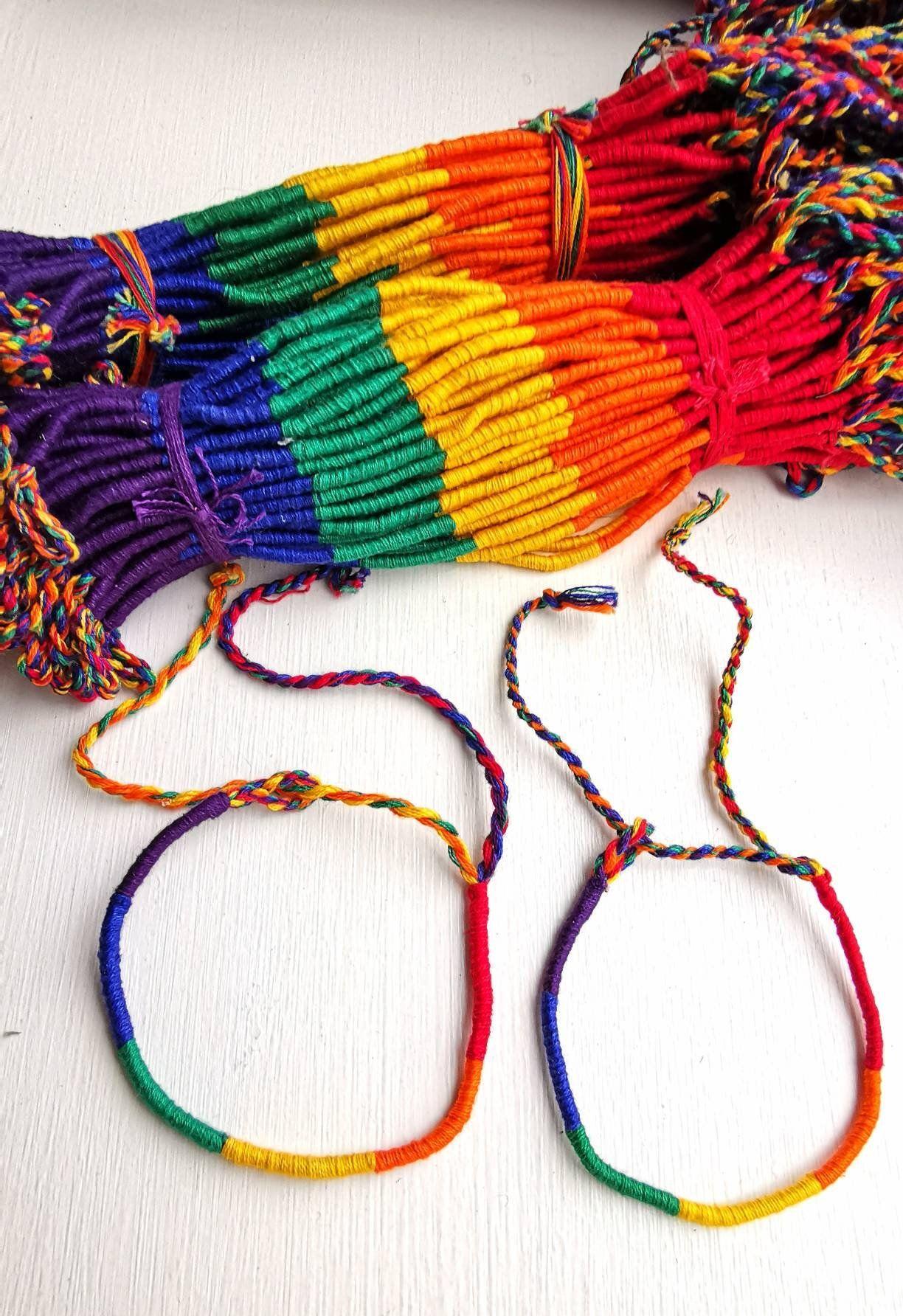 21409b5b98b Woven Rainbow Colour Friendship Bracelet, Thin Round Design, Best Friend  Gift, Hippie, Boho Chic Bracelet, Beach Jewelry, string Wristband