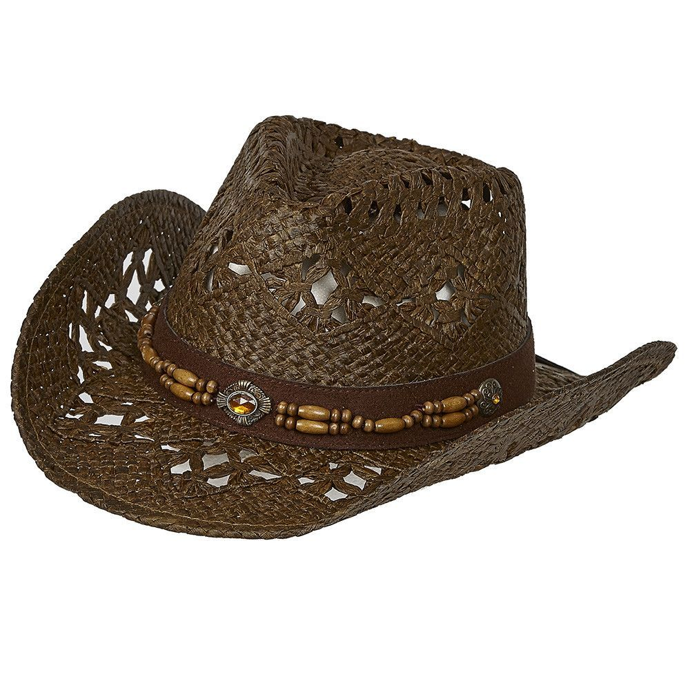 98b1a1c125a685 Straw Vented Shapeable Country Cowboy Hat w/ Bead Band | Beaded Hat ...