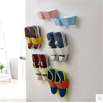 Smartlife 3PCS Home Shoe Shelf Wall-Mounted Sticky Hanging Shoe Holder Hook Shelf Rack Hanger Holder Storage Organiser