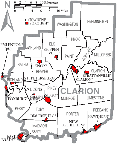 Clarion County Pa Municpalities And Townships Map Genealogy