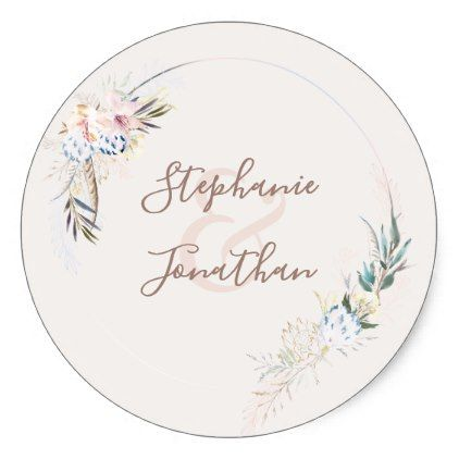 Watercolor Flowers  Gold Wedding Classic Round Sticker  Round