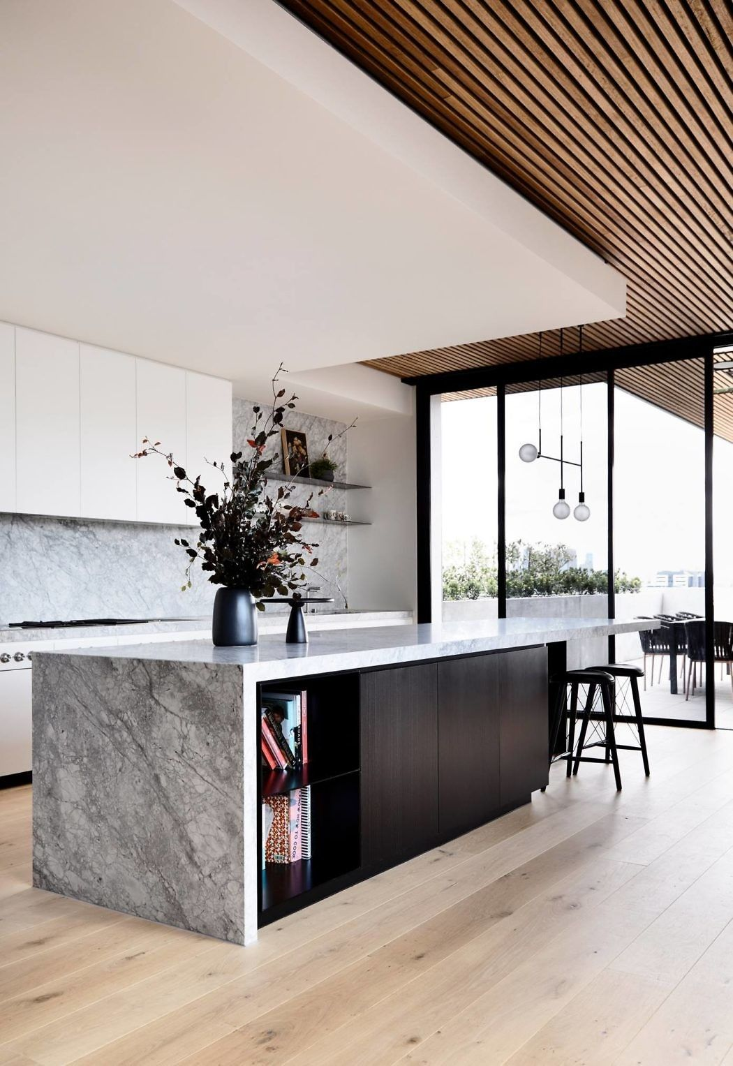 Remodel kitchen island with waterfall edge with open book