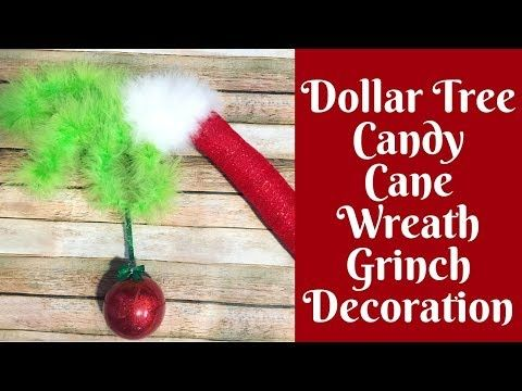 Christmas Crafts: The Original Dollar Tree Candy Cane Wreath Grinch Decoration