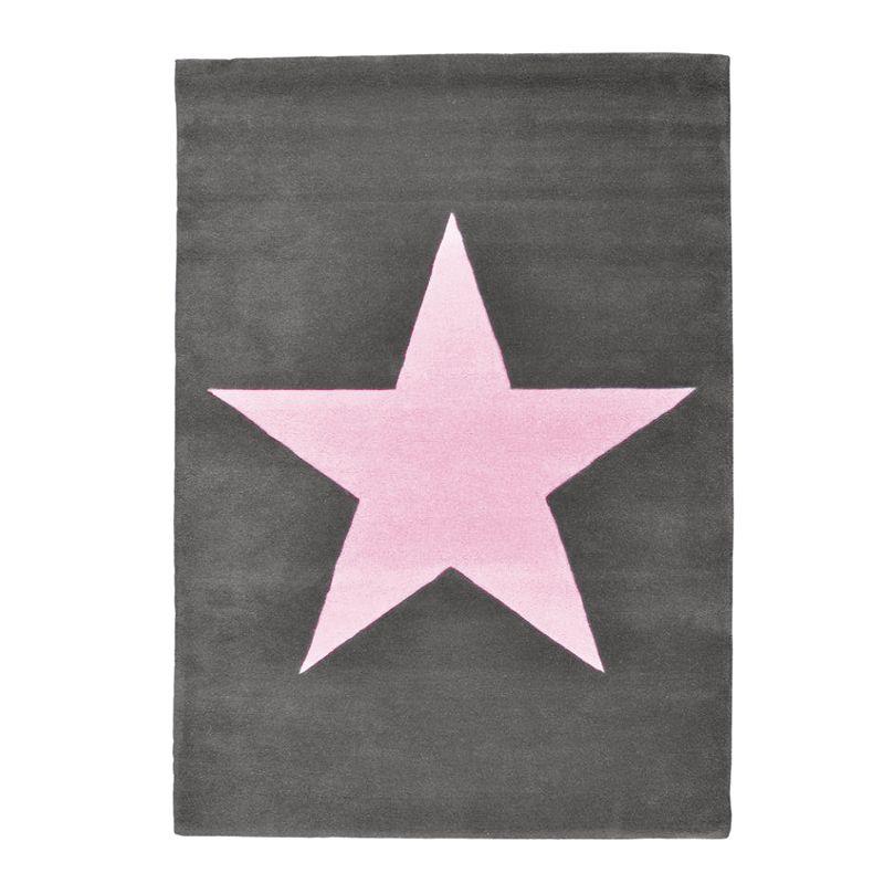 Kinderteppich sterne rosa  Lorena Canals Teppich Kinderteppich Dunkelgrau mit Rosa Stern ...