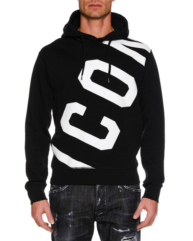 Dsquared2 Icon Cotton Hoodie In Black Modesens Graphic Hoodies Hoodies Mens Sweatshirts [ 1500 x 1200 Pixel ]