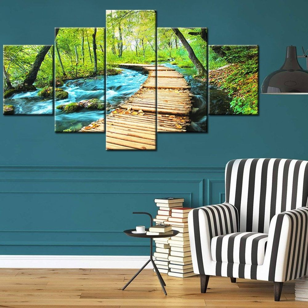 Forest Path Print Split Canvas Wall Art Paintings Green 1pc 12 31 2pcs 12 16 2pcs 12 24 Inch No Frame Canvas Wall Art Wall Art Painting