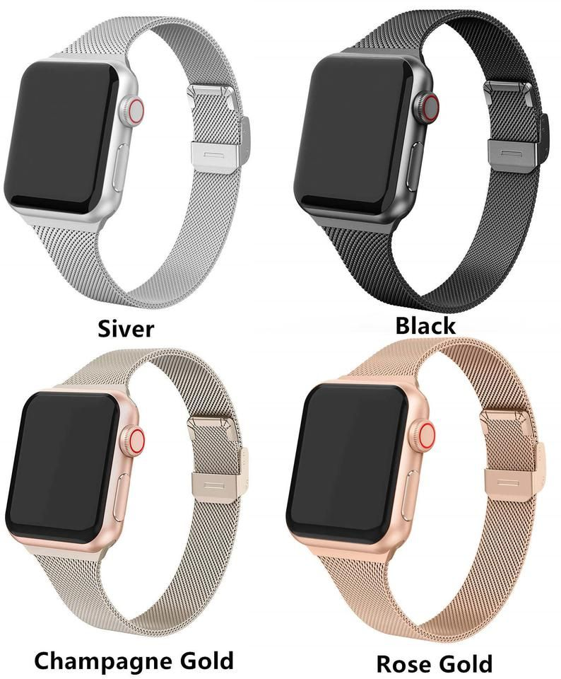 Slim Milanese Strap For Apple Watch Band 44mm 42mm 38mm Etsy In 2020 Apple Watch Bands Apple Watch Bands Fashion Apple Watch Strap