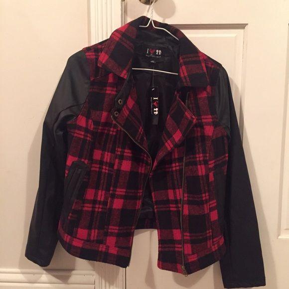 Selling this Buffalo plaid biker jacket with pleather sleeves. in my Poshmark closet! My username is: elizbuck. #shopmycloset #poshmark #fashion #shopping #style #forsale #Jackets