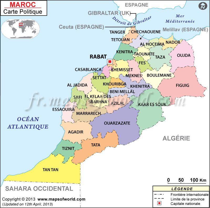 Maroc Carte mapsinfrench Carte du Monde Pinterest Morocco