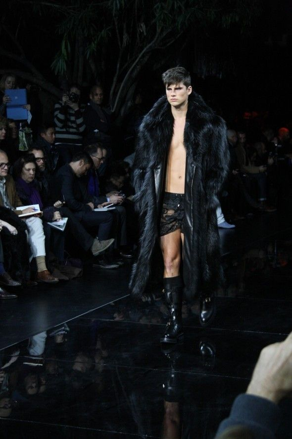Versace runaway show  Male model wearing a long black fur coat   I d ... eb106ef468d
