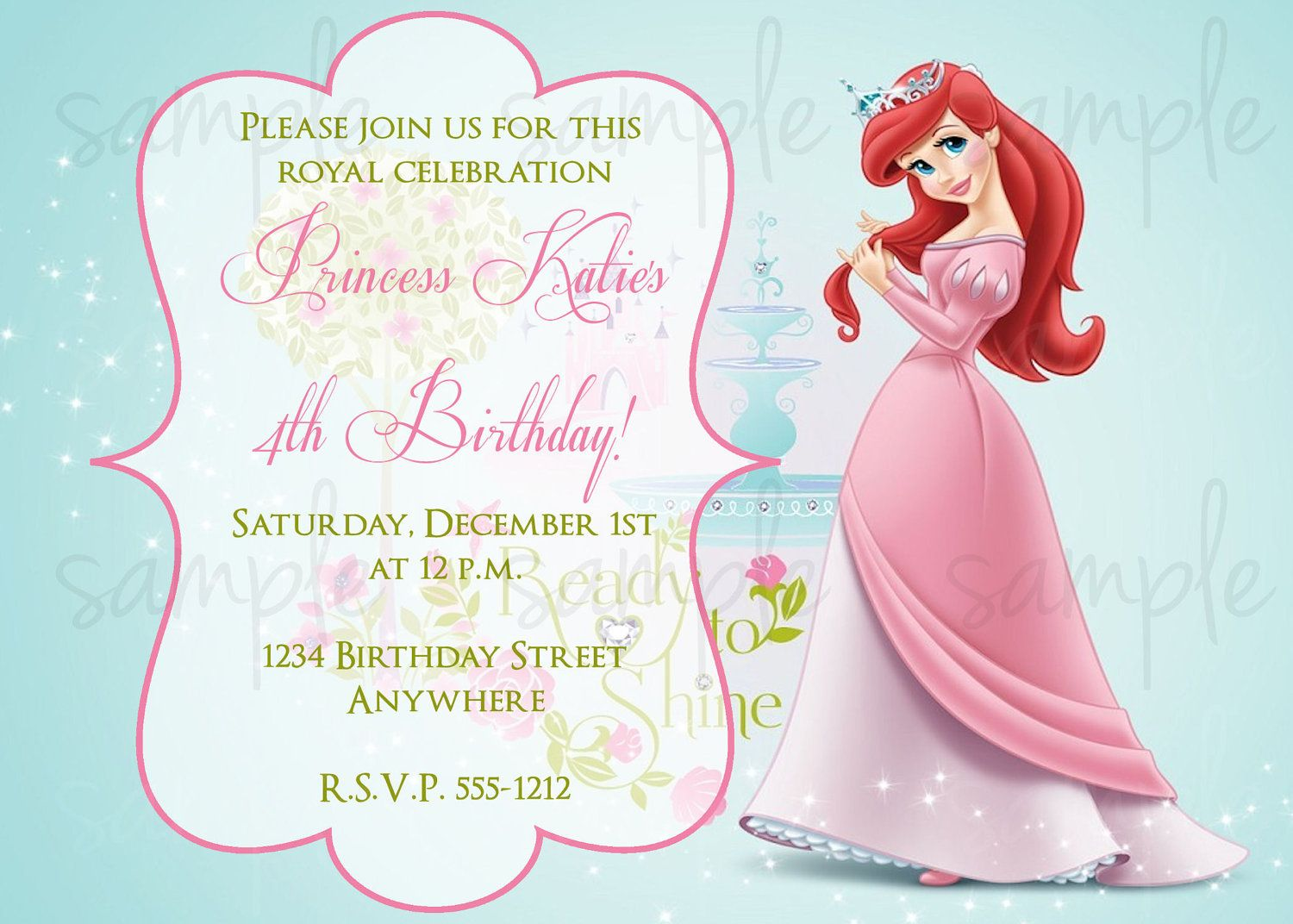 Princess Ariel Birthday Invitation By LoveLifeInvites On Etsy