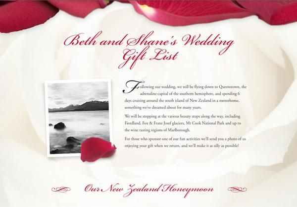 Example Wedding Gift Lists And Honeymoon Registries Our