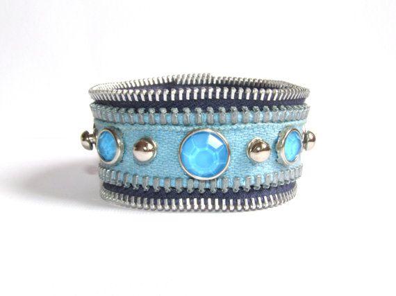 Rock Blue Jeans Bracelet, Zipper Bracelet, Blue Zipper Cuff Bracelet, Ecofriendly Bracelet, Recycled Zipper
