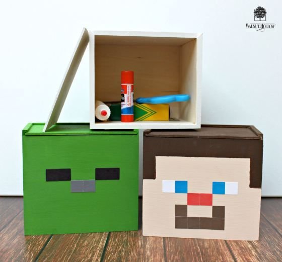 minecraft inspired school supply storage boxes diy games toys rh pinterest com