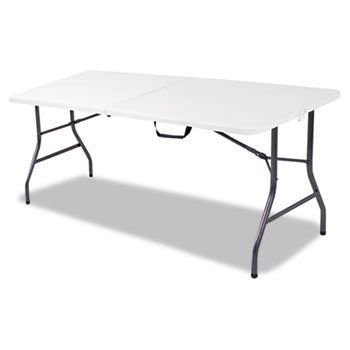 6 Foot Bifold Resin Folding Table 72w X30d X 29 1 4h White