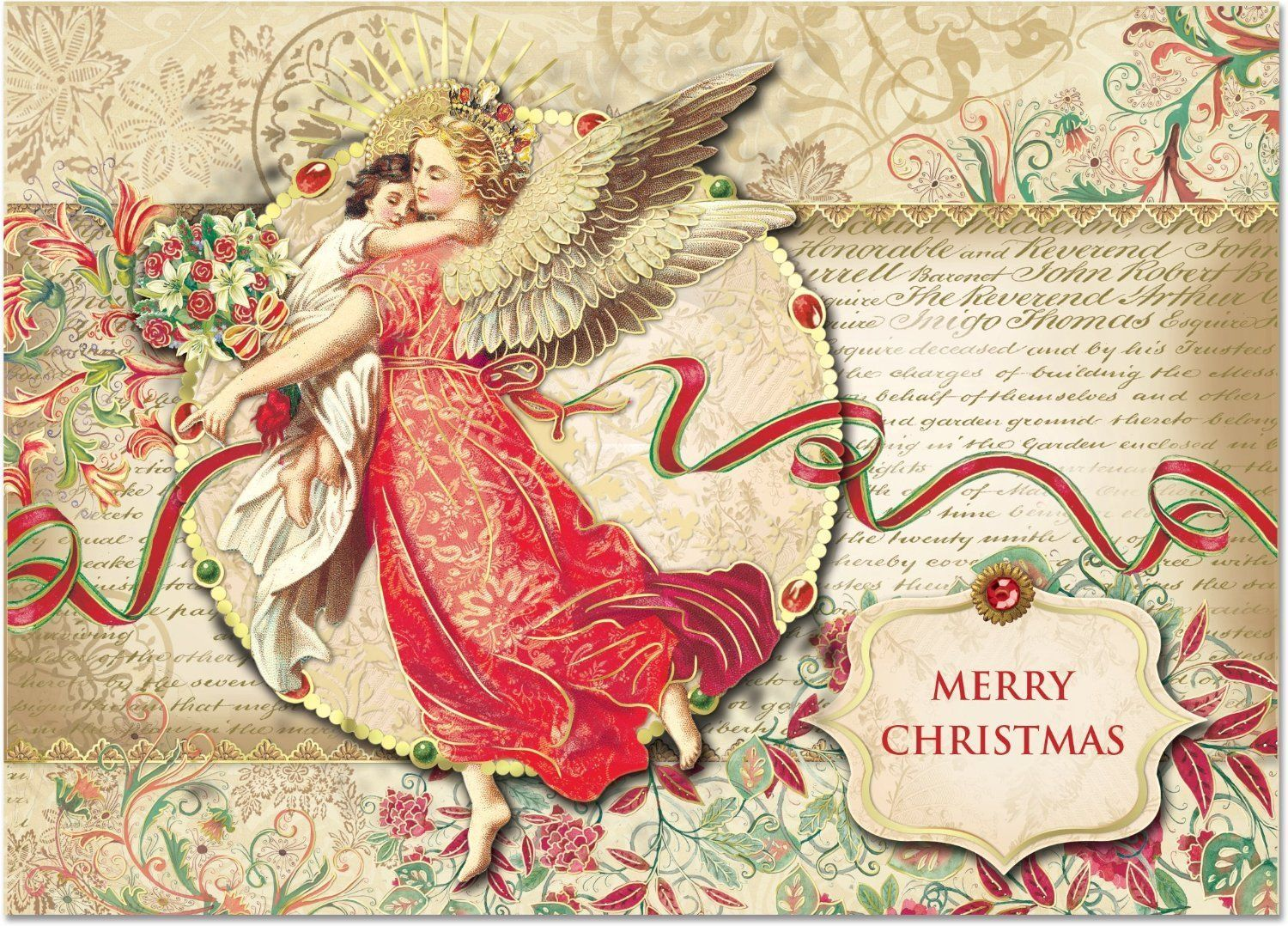 Punch Studio Christmas Holiday Boxed Greeting Cards Florentine Angel ...