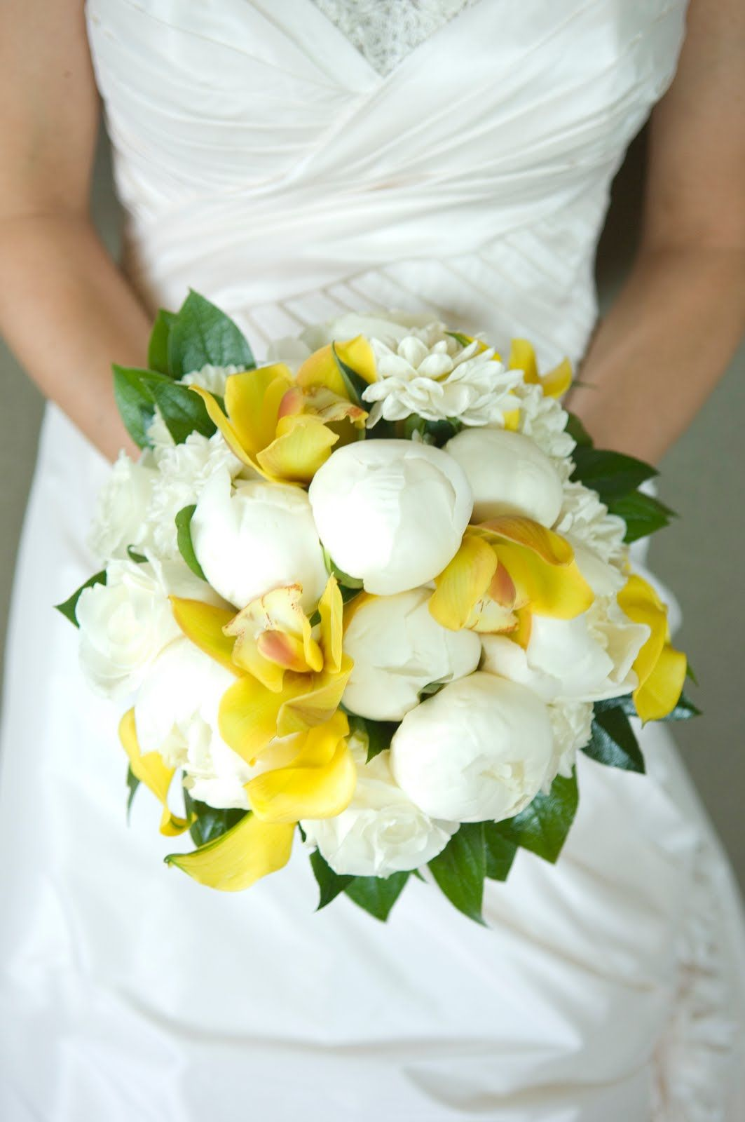Possibility For Bridal Bouquetwhite Peonies And Yellow Bud Tulips