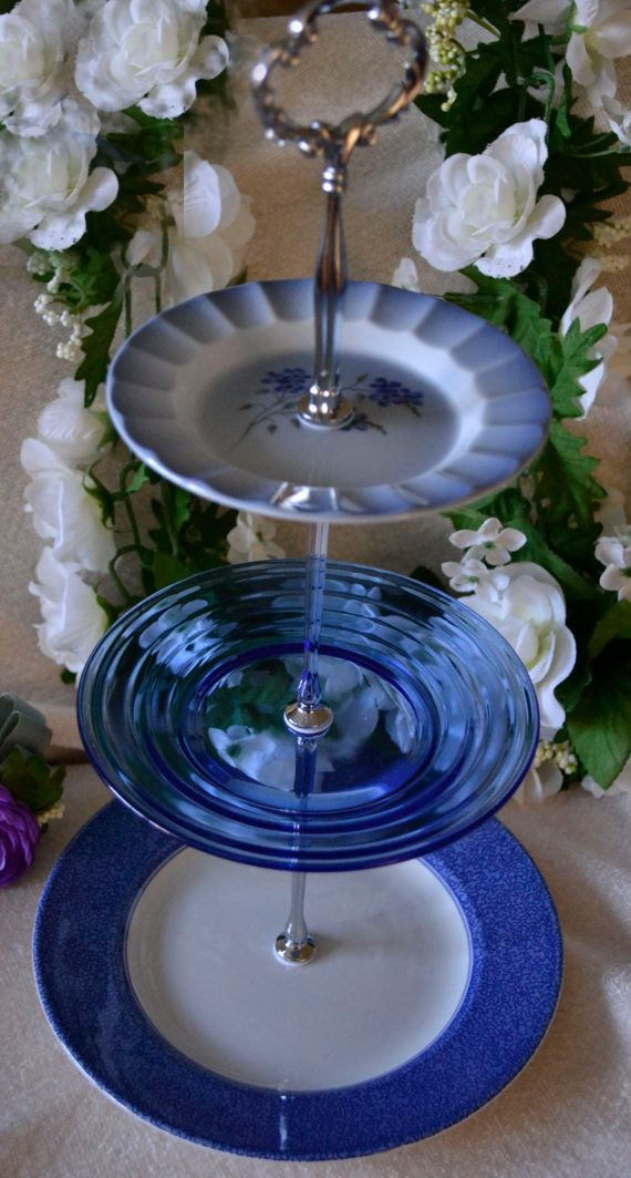 3 Tier Server, Blue Cake Stand, Tiered Serving Tray, Blue