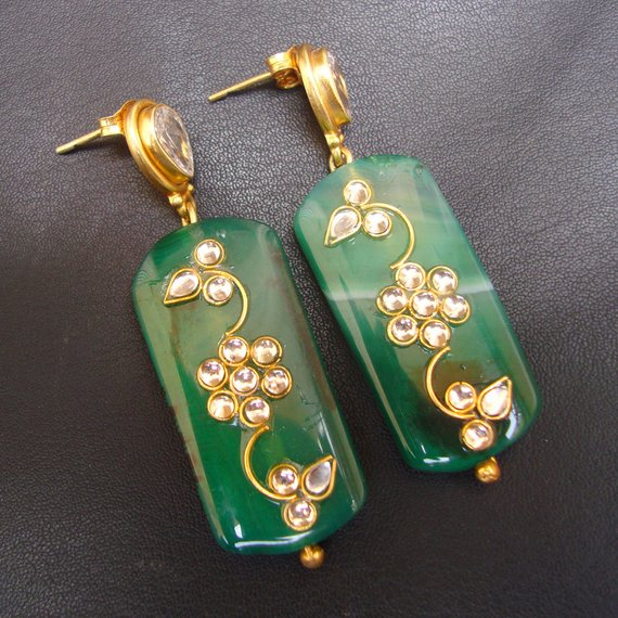 Superb Natural Multicolore India Agate /& Plated Silver Earrings